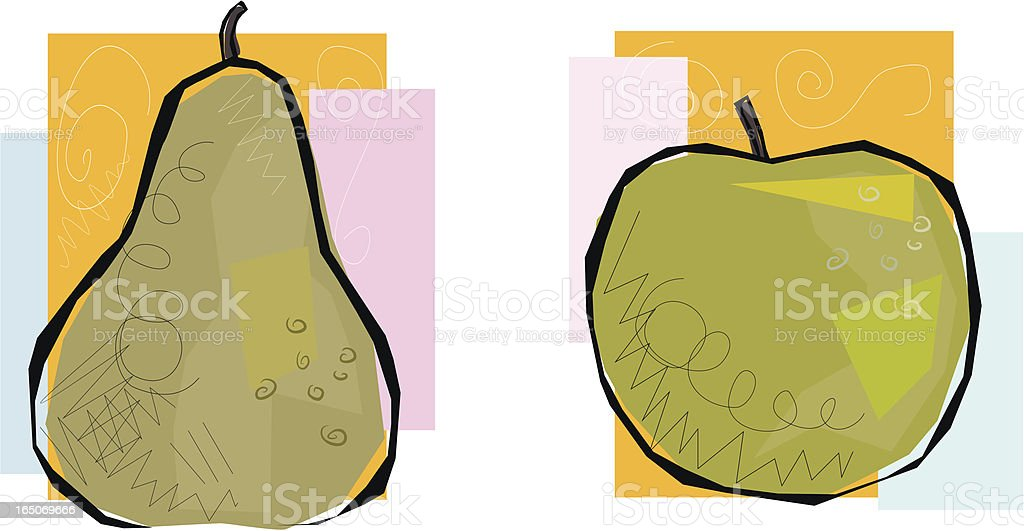 Apple and Pear royalty-free stock vector art