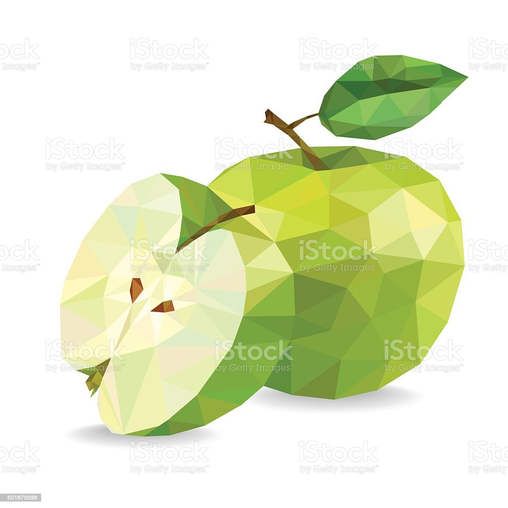 Apple and slice. Low poly vector illustration vector art illustration