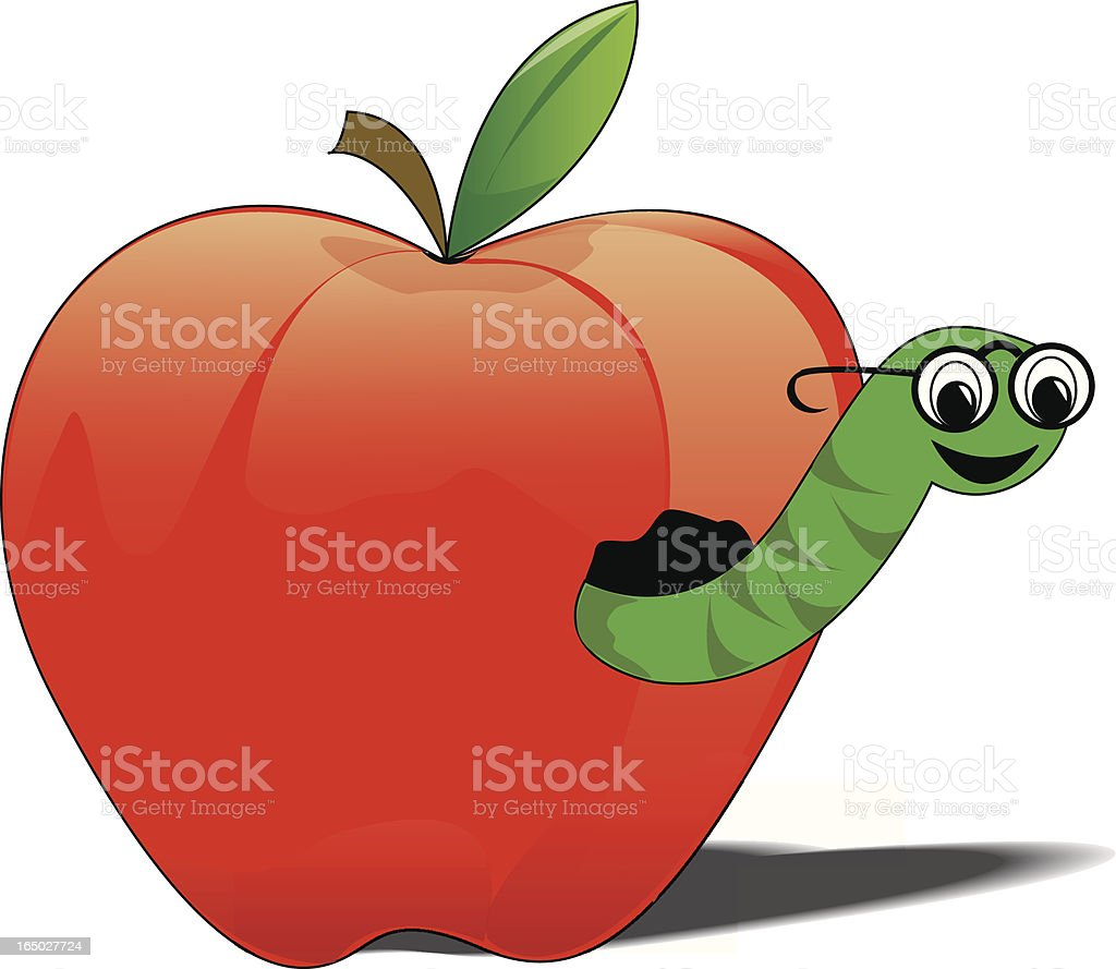 apple and worm royalty-free stock vector art