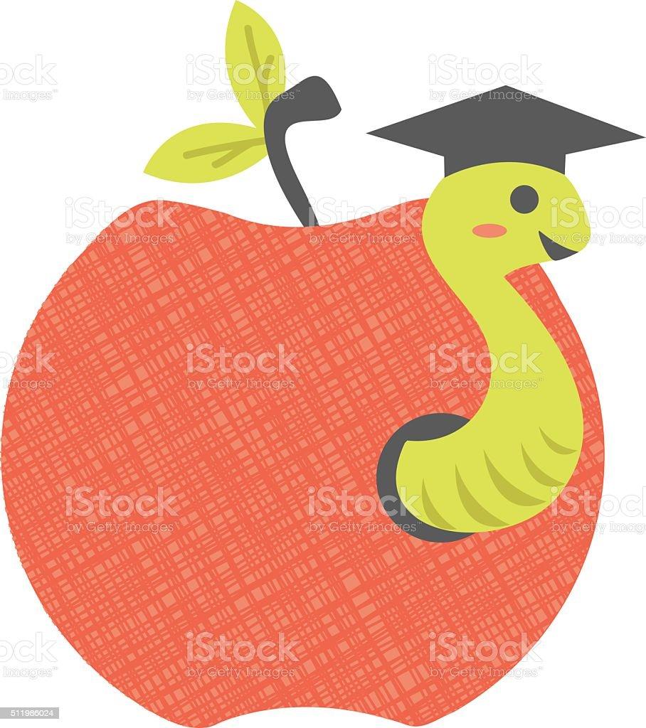 Apple and Worm vector art illustration