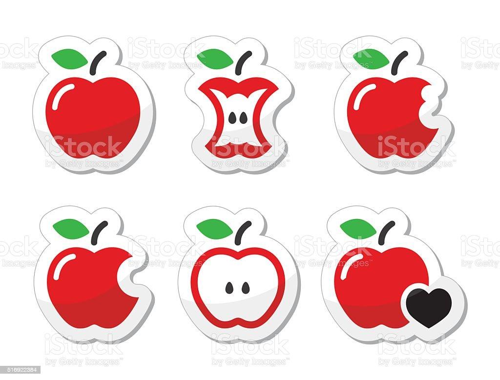 Apple, apple core, bitten, half vector labels set vector art illustration