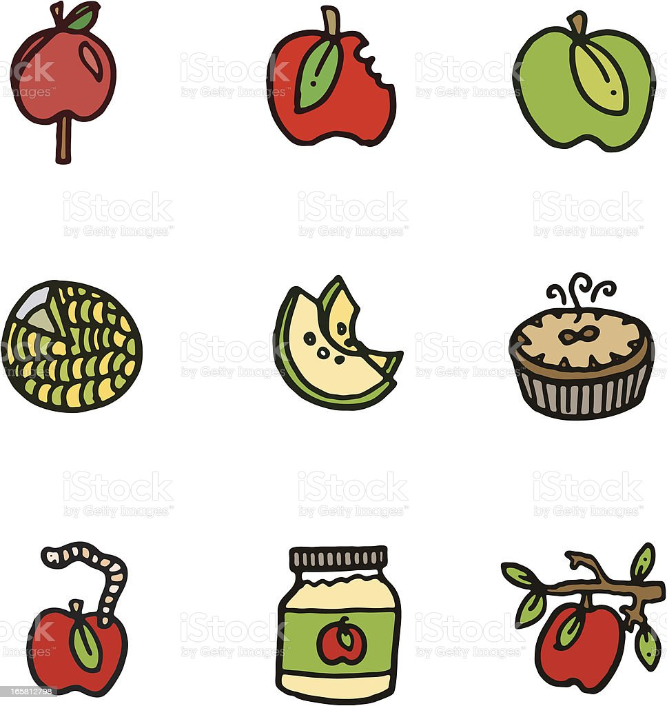 Apple cartoon doodle icons vector art illustration