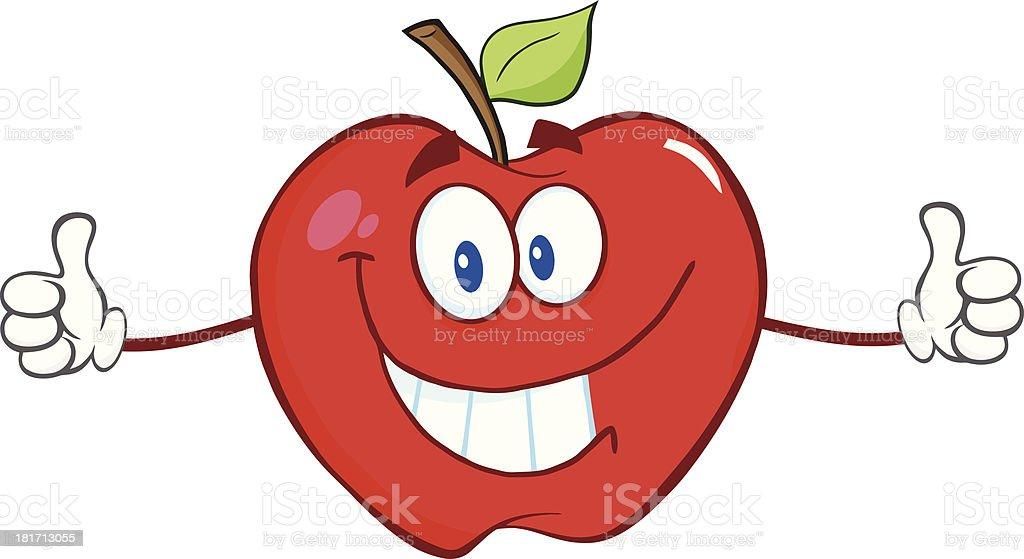 Apple Cartoon Mascot Character Giving A Thumb Up royalty-free stock vector art