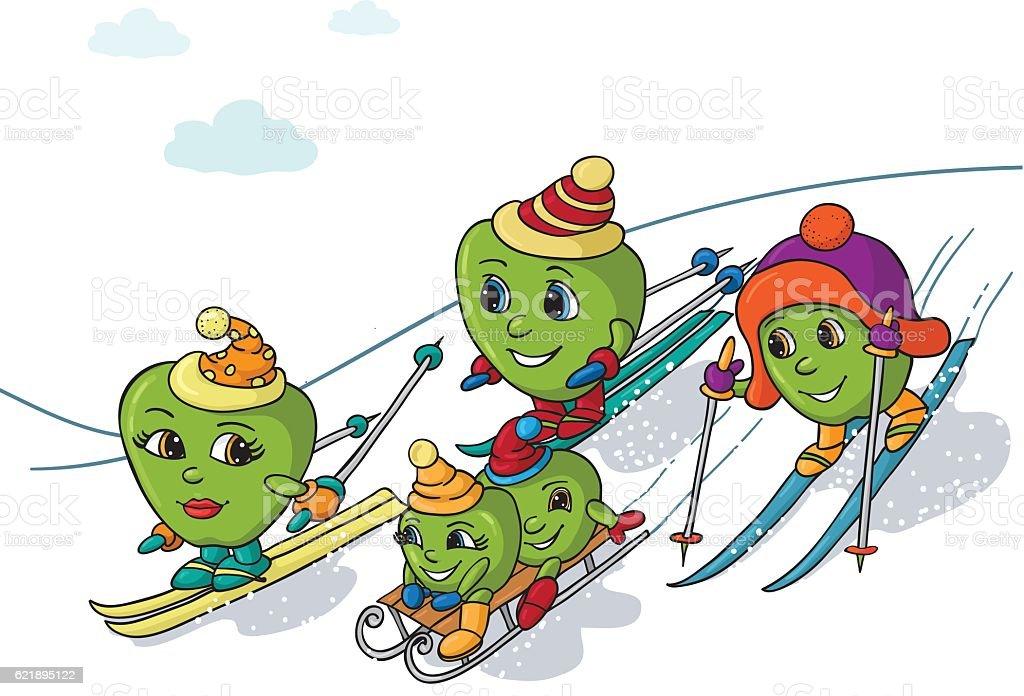 Apple Christmas family vector art illustration