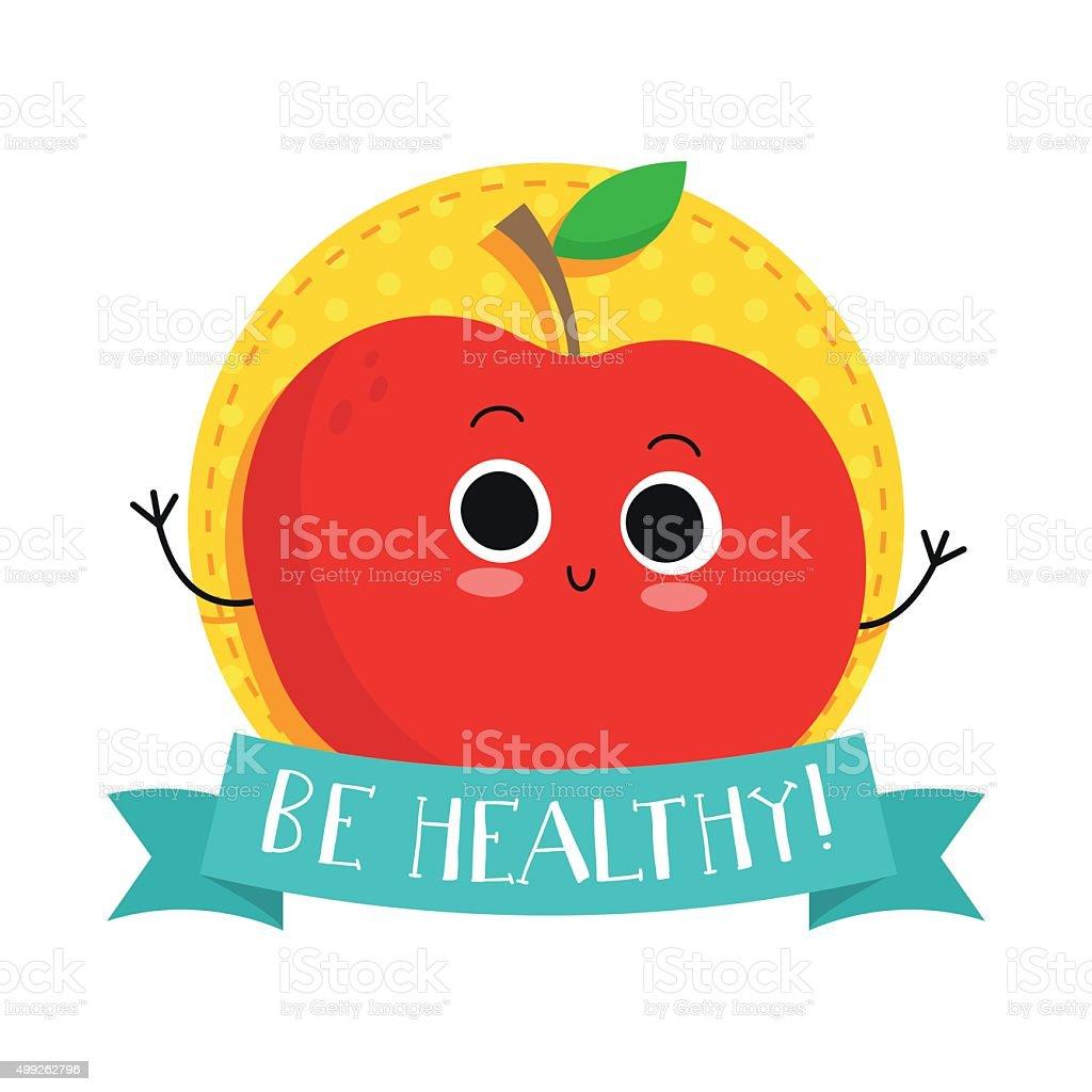 Apple, cute fruit vector character bagde vector art illustration
