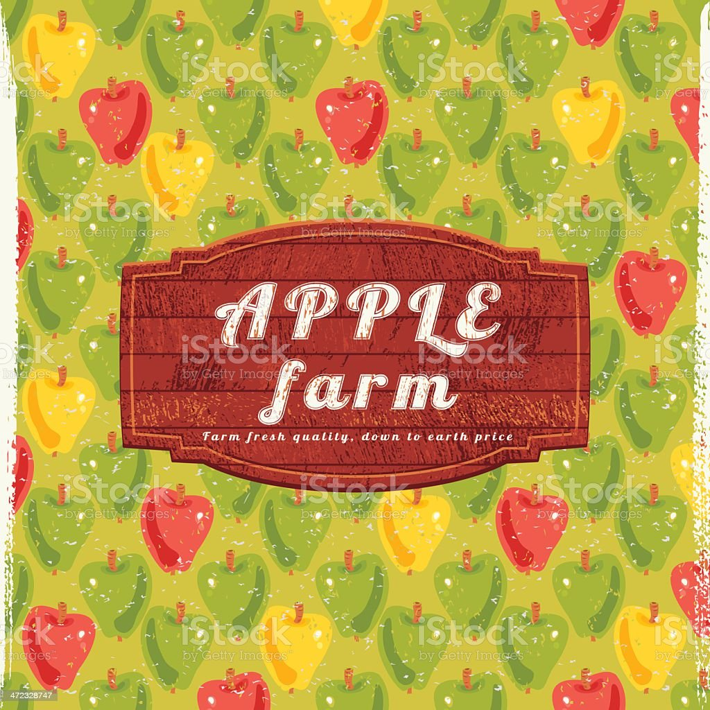 Apple Farm Sign vector art illustration