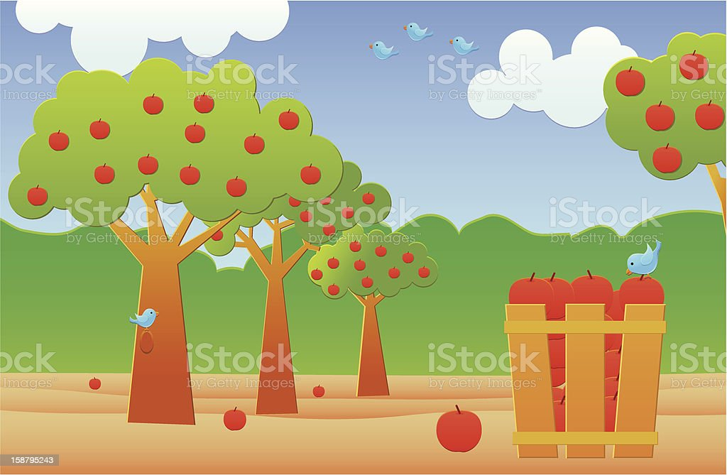 Apple Farm vector art illustration