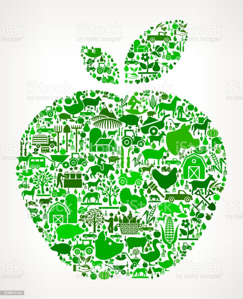 Apple Farming and Agriculture Green Icon Pattern vector art illustration