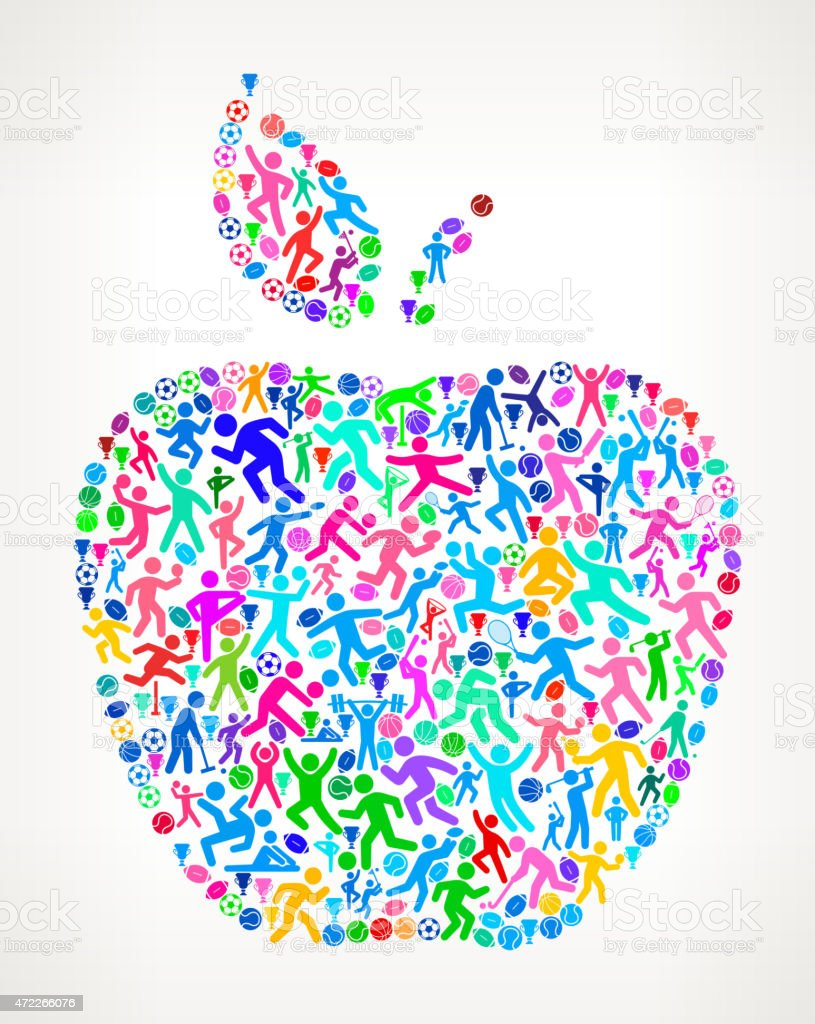 Apple Fitness Sports and Exercise pattern vector background vector art illustration