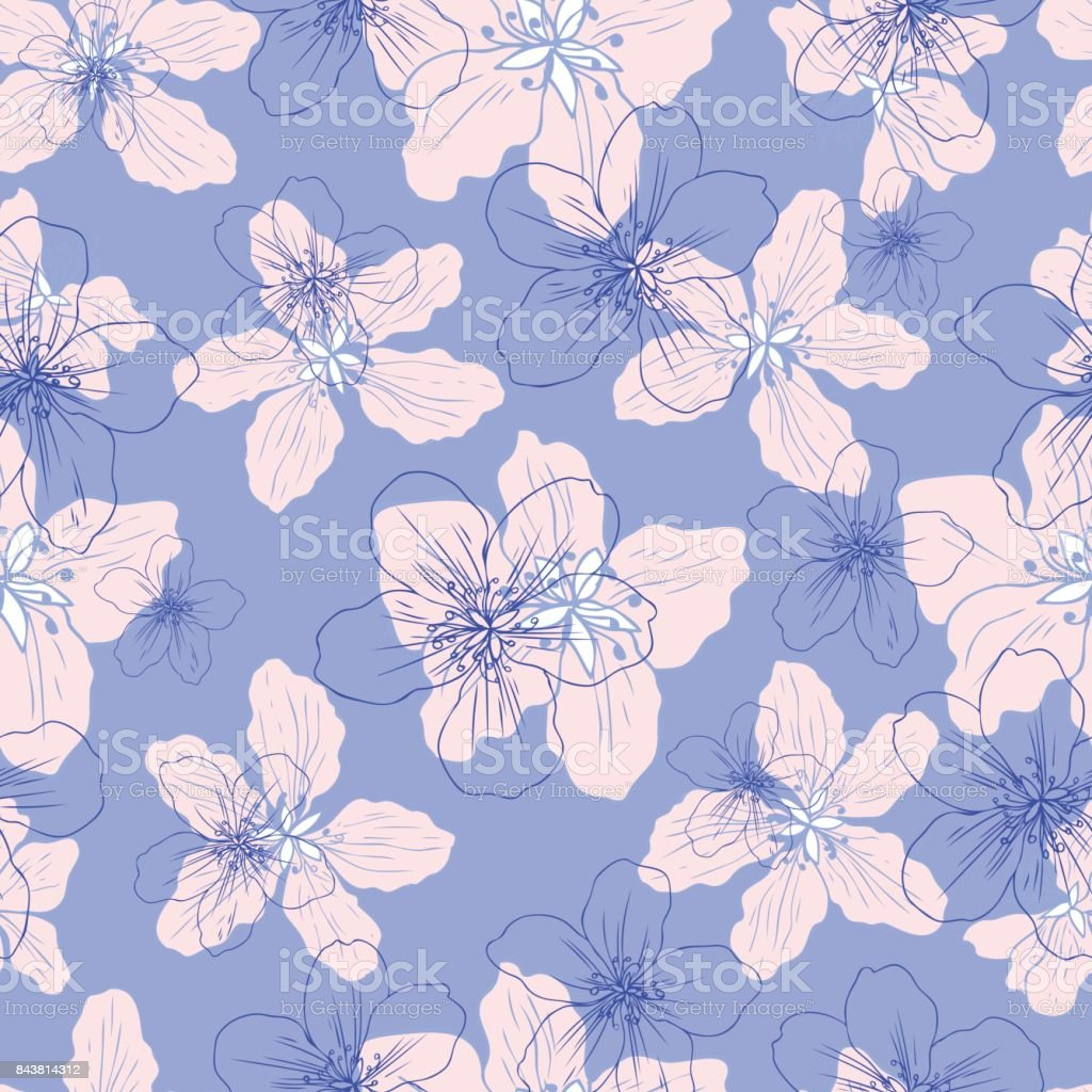 Apple flower blossom hand drawn isolated on blue background, seamless vector floral pattern, pink sakura outline art for greeting card, package design cosmetic, wedding invitation, wallpaper beauty vector art illustration