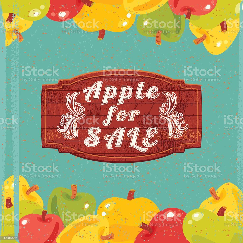 Apple for Sale vector art illustration