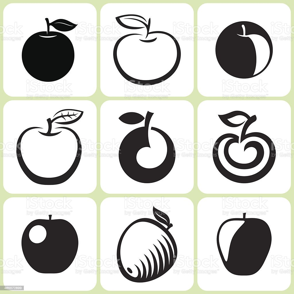 apple fruit icons set royalty-free stock vector art