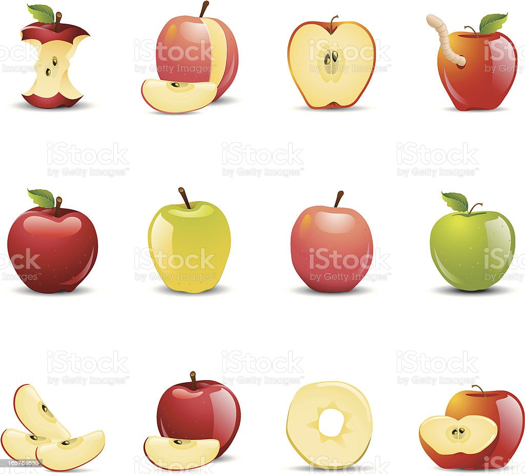 Apple Icons vector art illustration