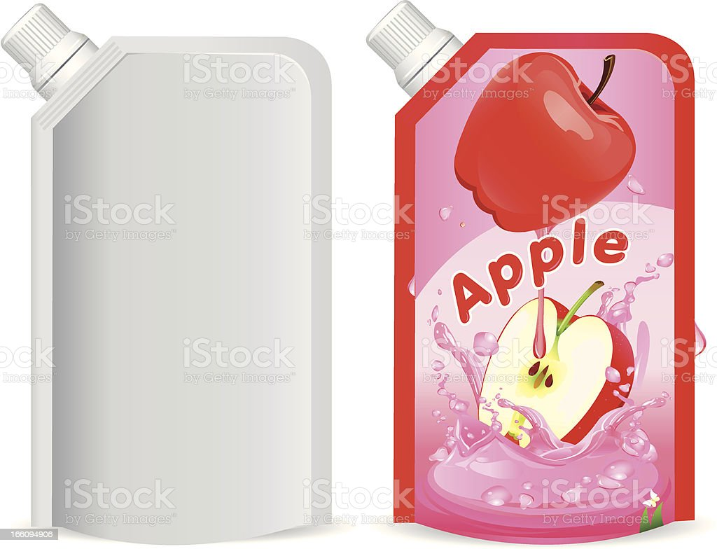 Apple juice packaging design, vector illustration royalty-free stock vector art