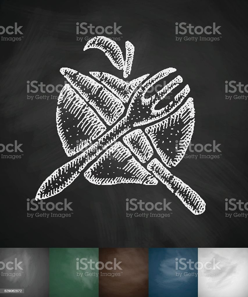 apple Knife Fork icon. Hand drawn vector illustration vector art illustration