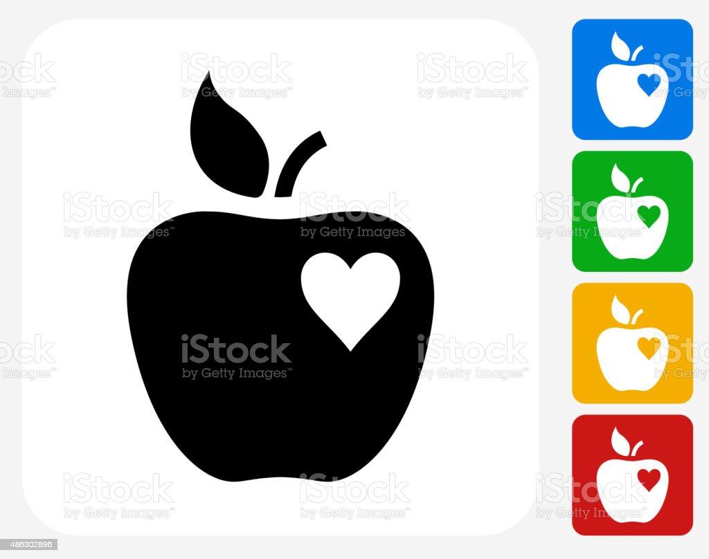 Apple Love Icon Flat Graphic Design vector art illustration