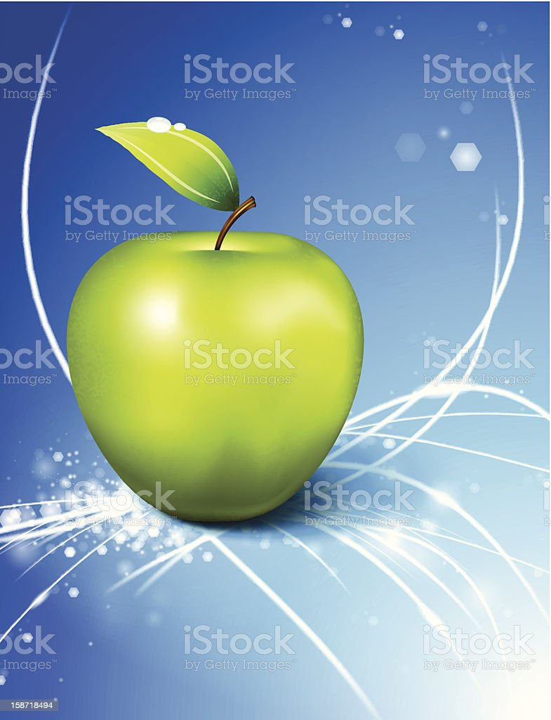 Apple on Abstract Star Burst Background royalty-free stock vector art