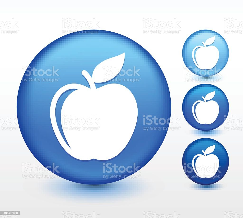 Apple on Blue Round Button vector art illustration