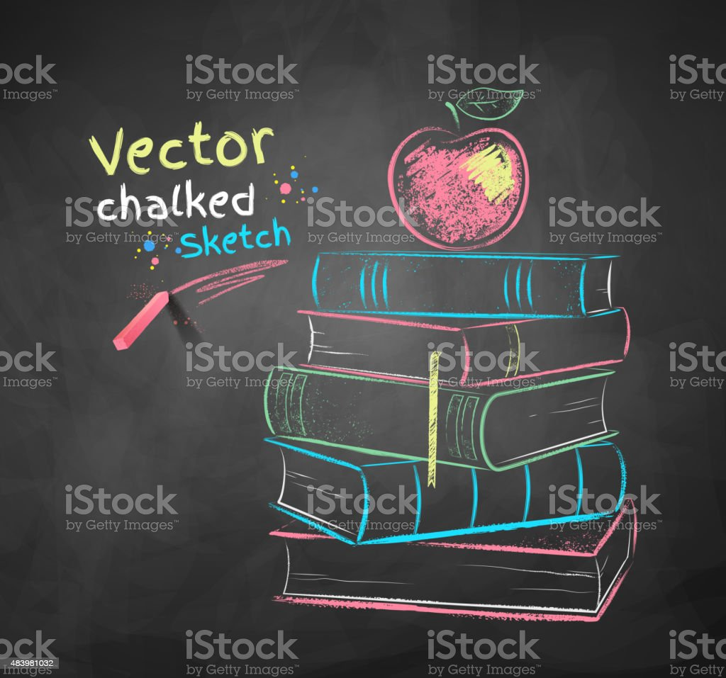 Apple on books vector art illustration