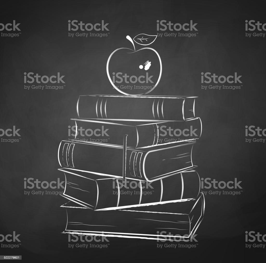 Apple on books. vector art illustration
