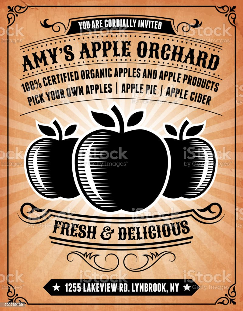 Apple Orchard Invitation on royalty free vector Background Poster vector art illustration
