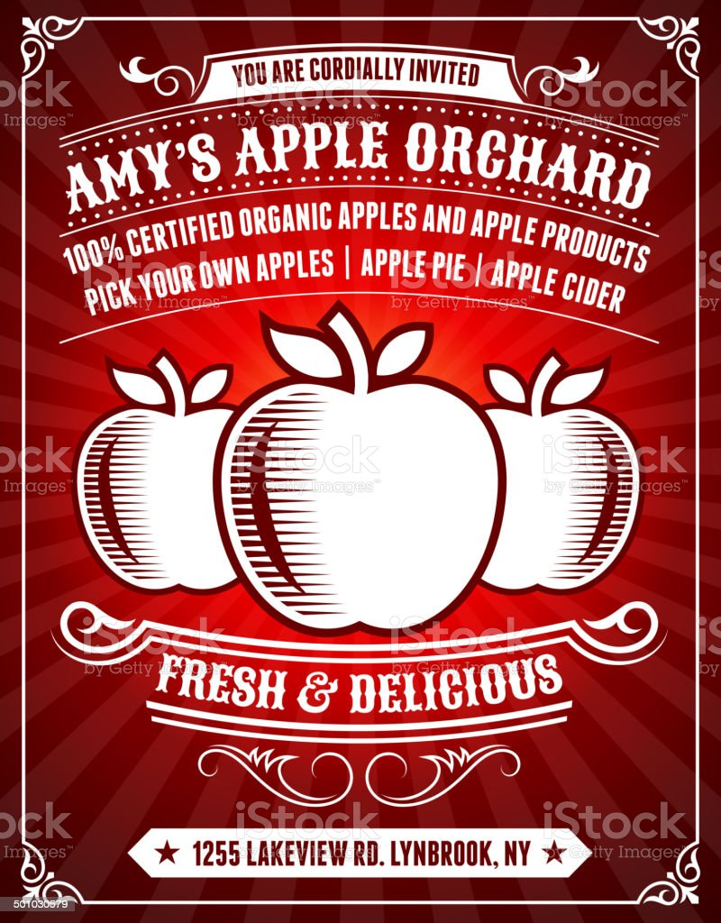 Apple Orchard Poster on Red Background vector art illustration