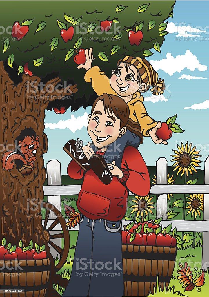 Apple Orchard vector art illustration