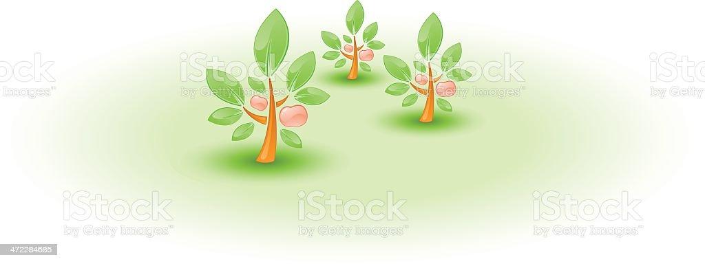Apple Orchards vector art illustration