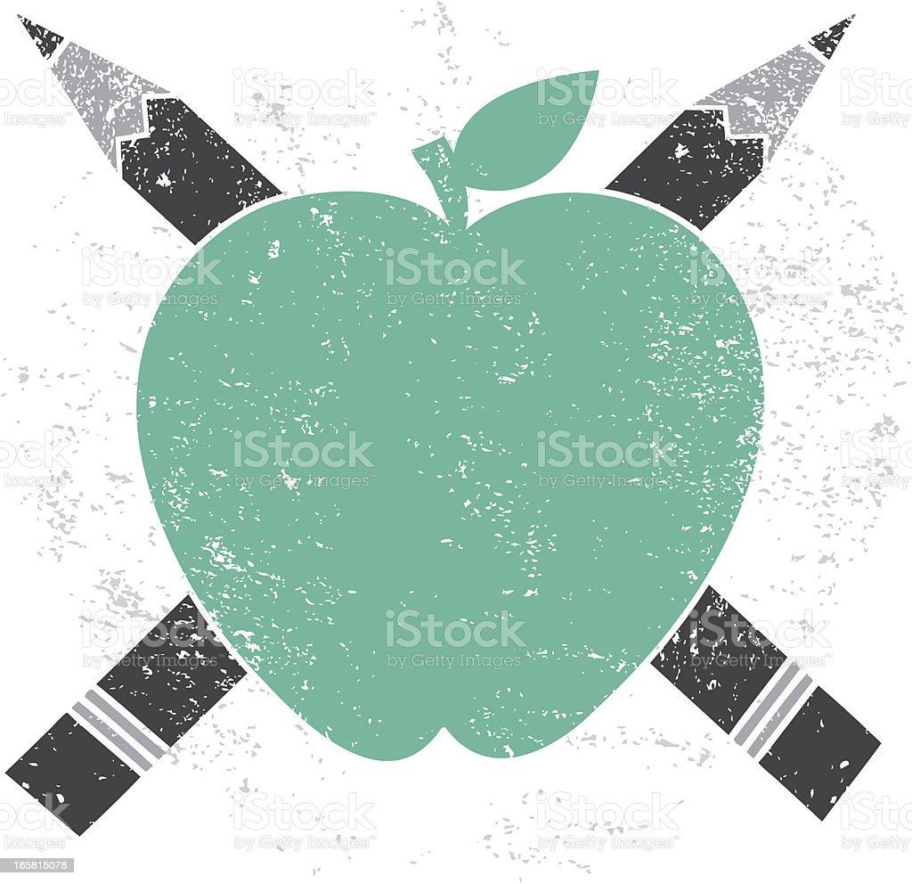 Apple Pencil Cross Education Icon royalty-free stock vector art