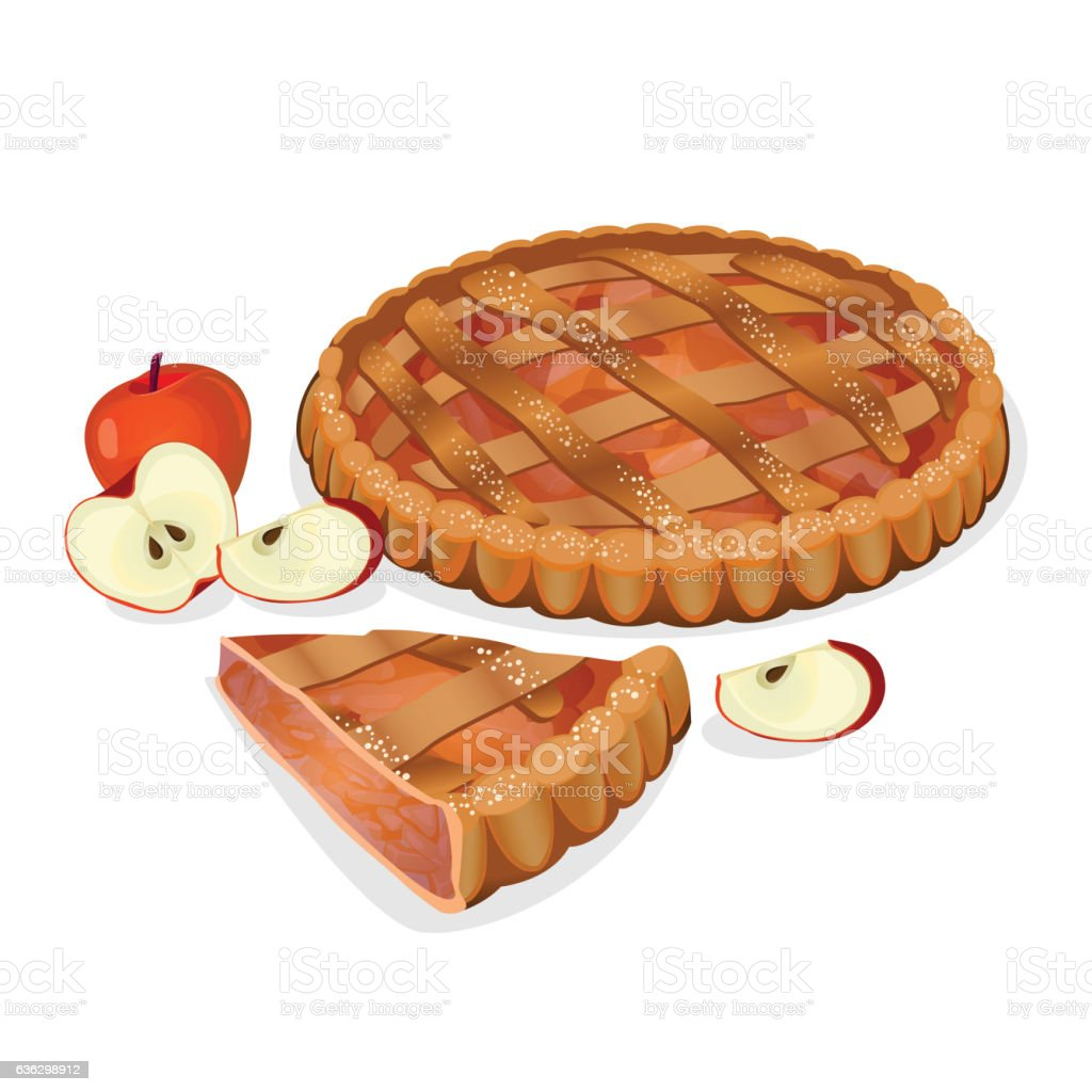 Apple pie with fruits, cut slice isolated. Traditional homemade tasty vector art illustration
