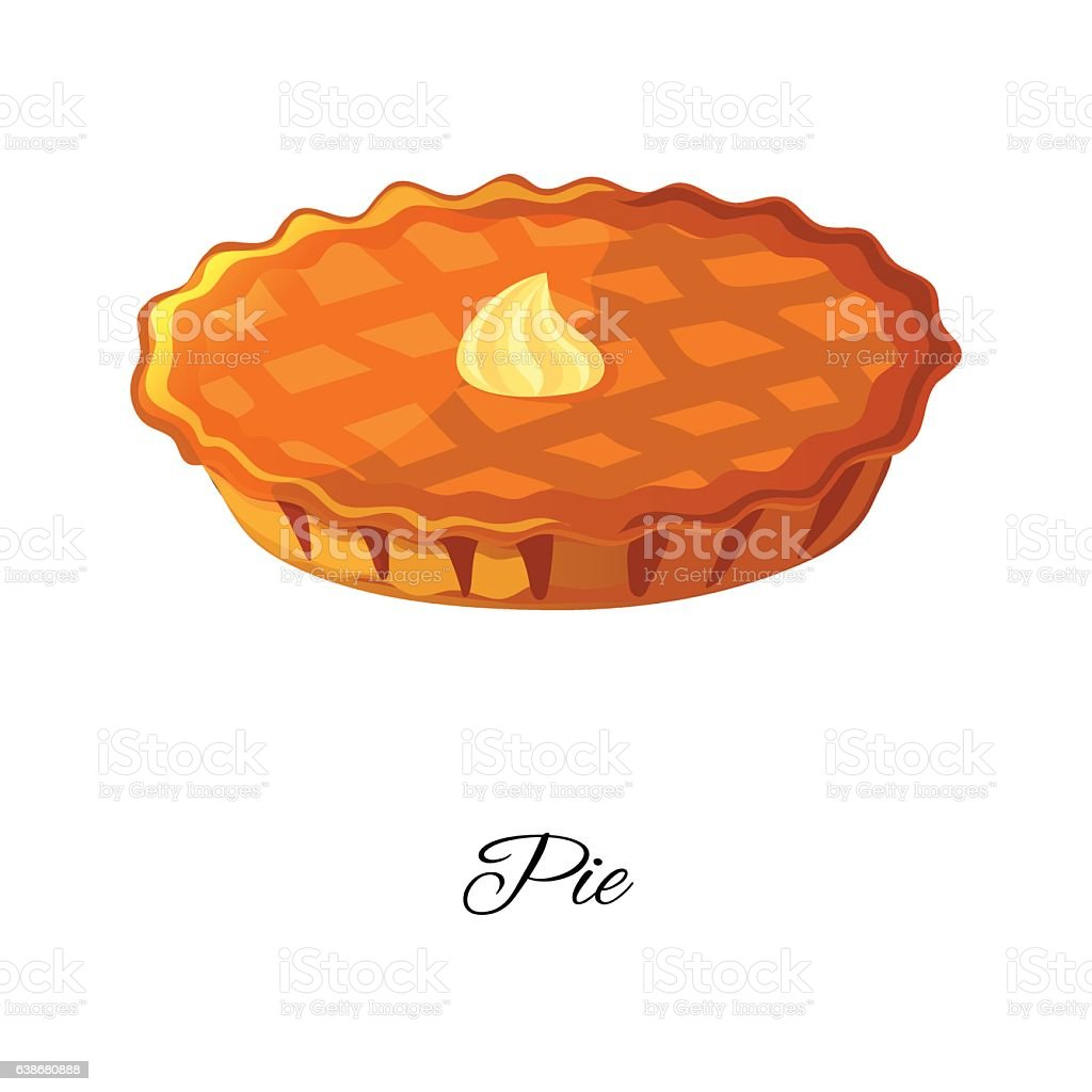 Apple, pumpkin, berries pie icon with cream. Isolated on white vector art illustration