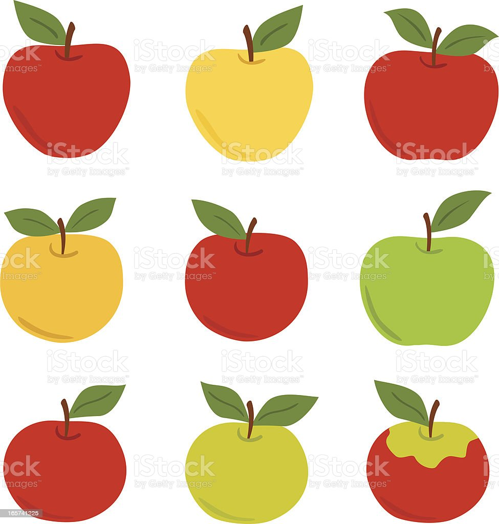Apple set vector art illustration