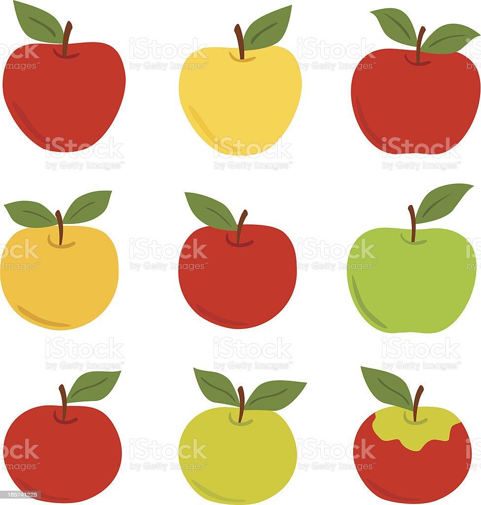 Apple set vector art illustration