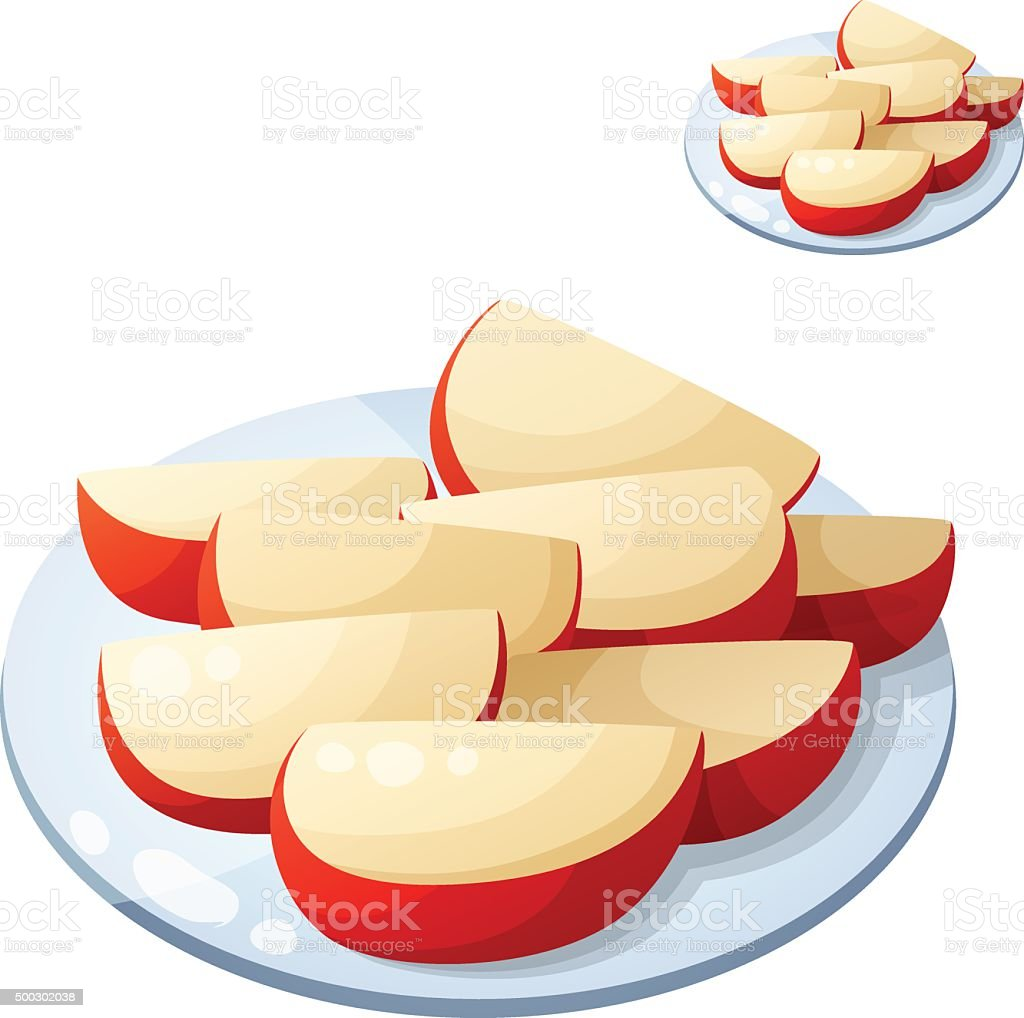 Apple slices. Detailed Vector Icon isolated on white background vector art illustration