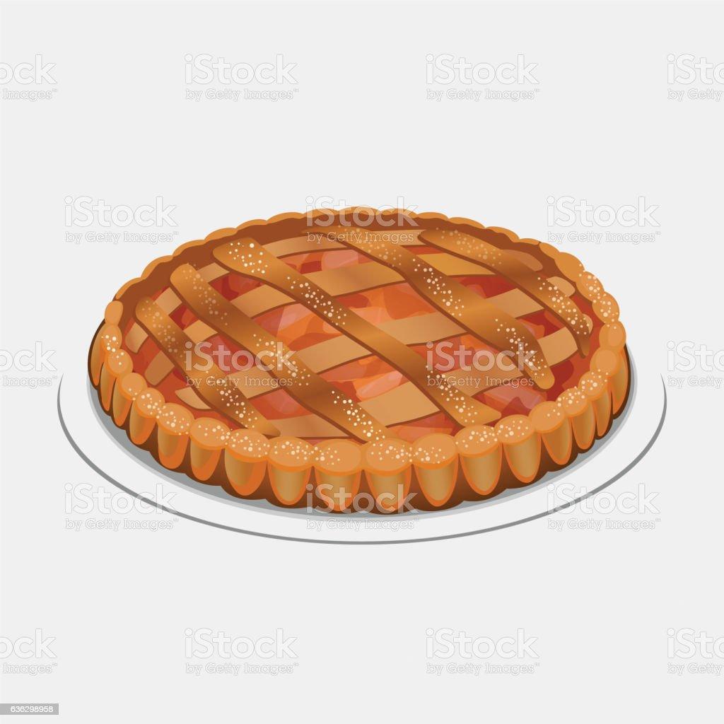 Apple strudel, pie-like dish made with dough, apples, sugar vector art illustration