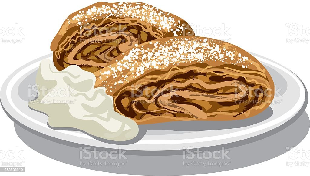 apple strudel with sour cream vector art illustration