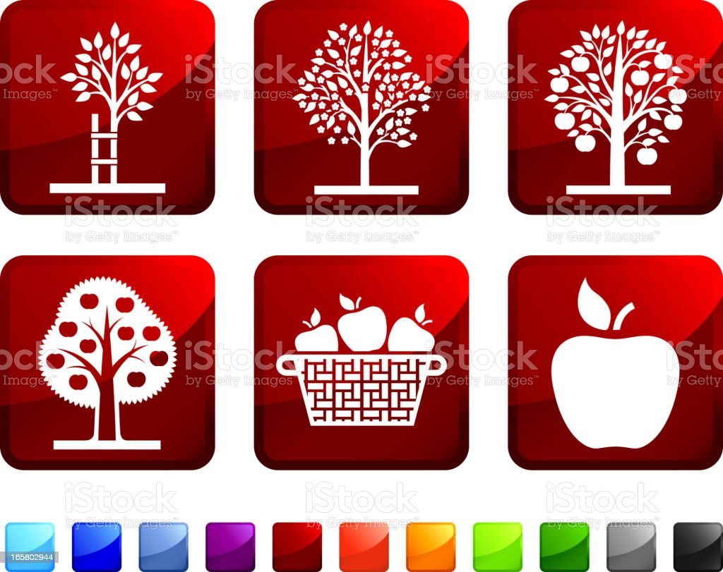 Apple Tree Picking royalty free vector icon set stickers royalty-free stock vector art