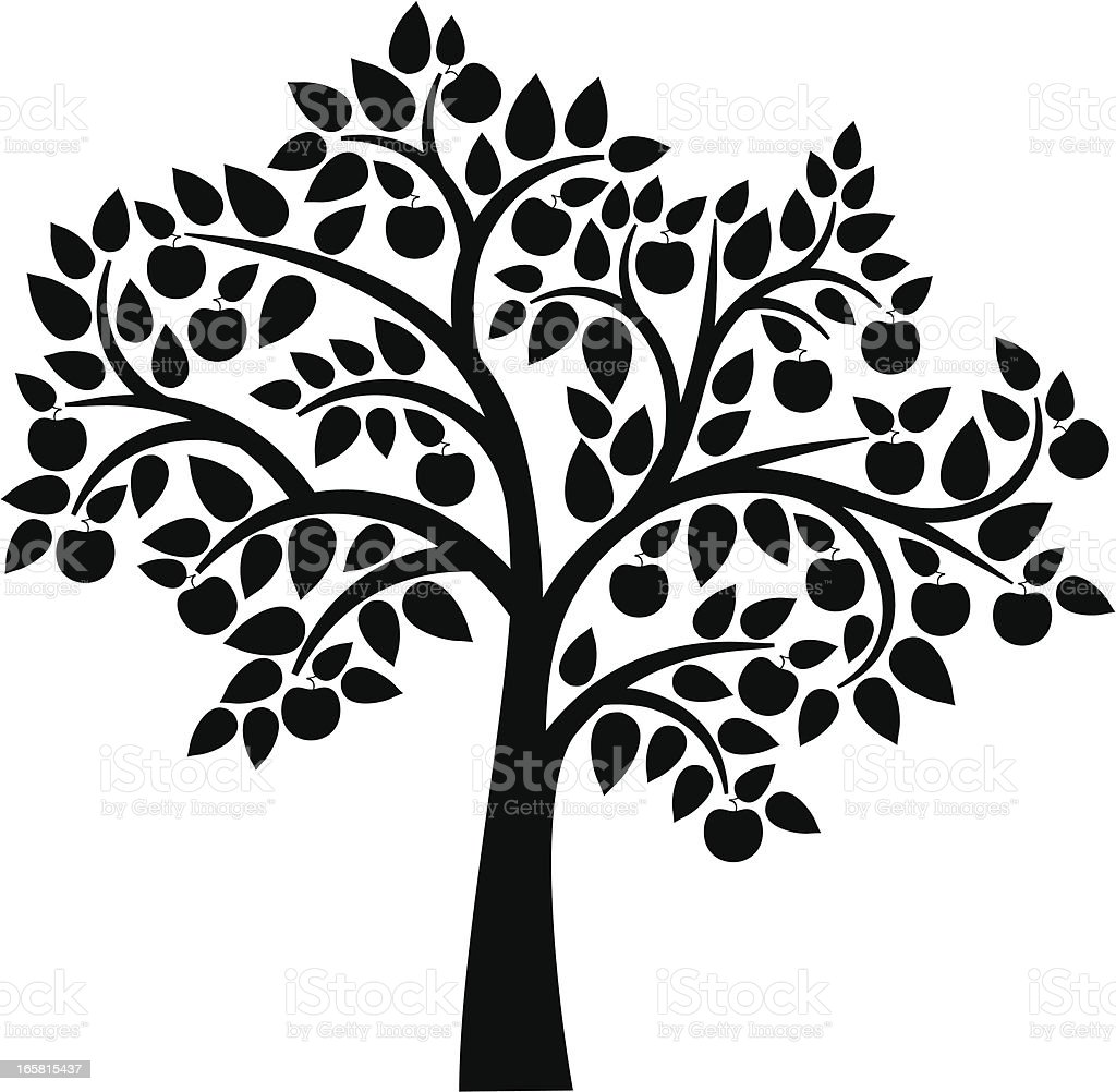 Apple tree vector art illustration