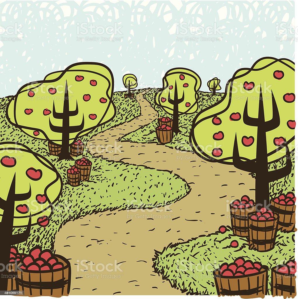 Apple Trees C vector art illustration