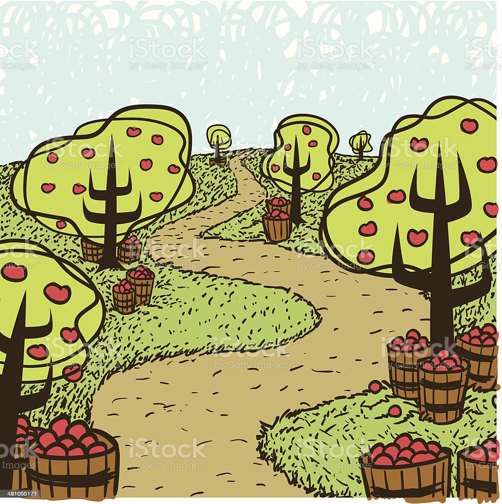 Apple Trees C vector art illustration