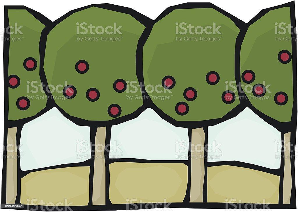 Apple Trees vector art illustration