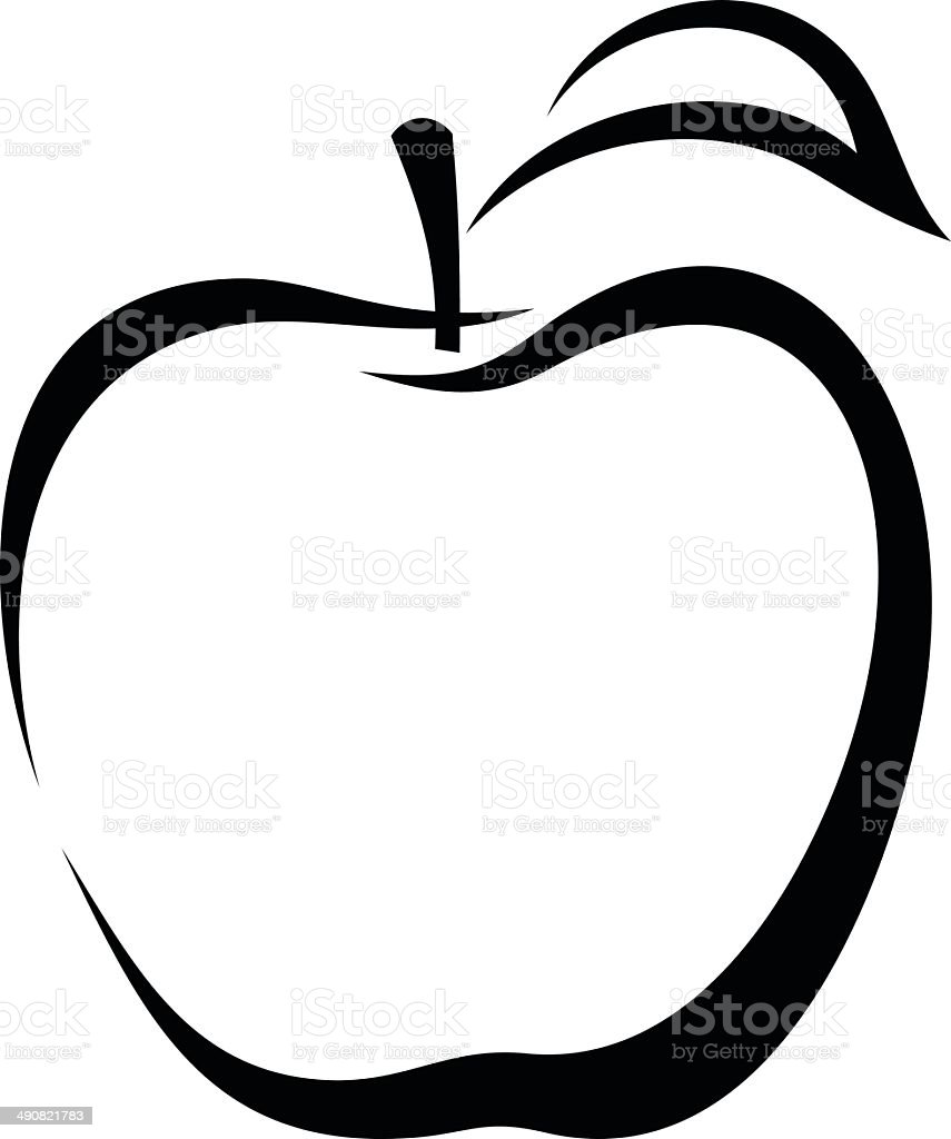 Apple. Vector black contour. vector art illustration