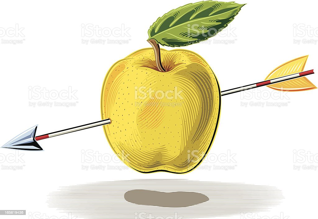 Apple with arrow royalty-free stock vector art