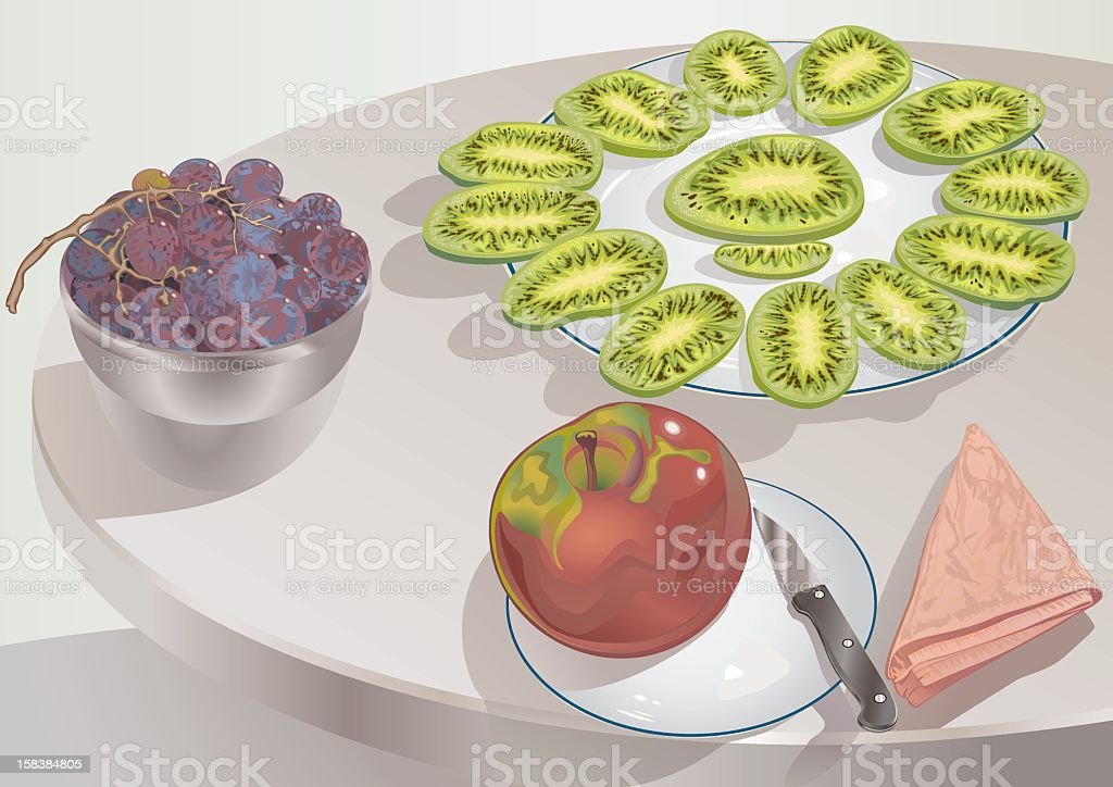 Apple With Bunch Of Grapes And Plateful Of Kiwi Slices royalty-free stock vector art