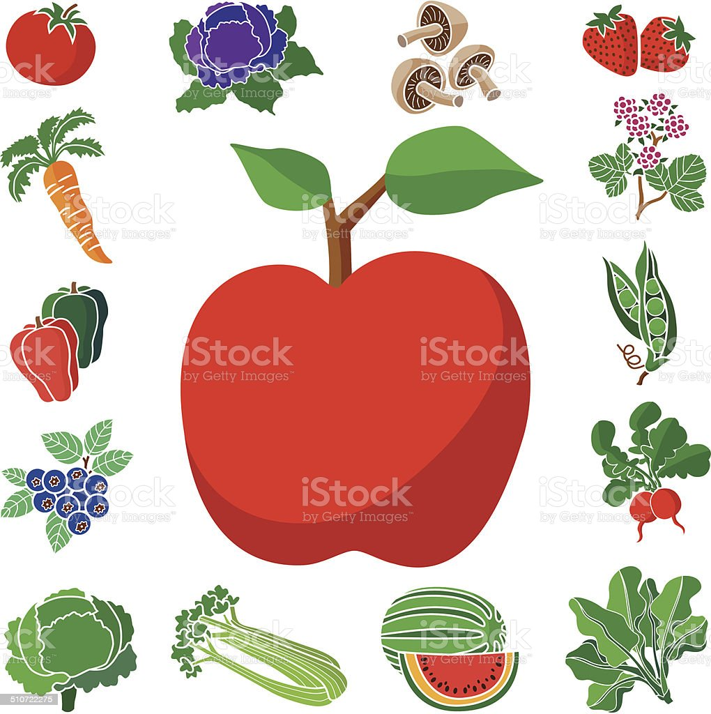 apple with fruit and vegetable square border vector art illustration