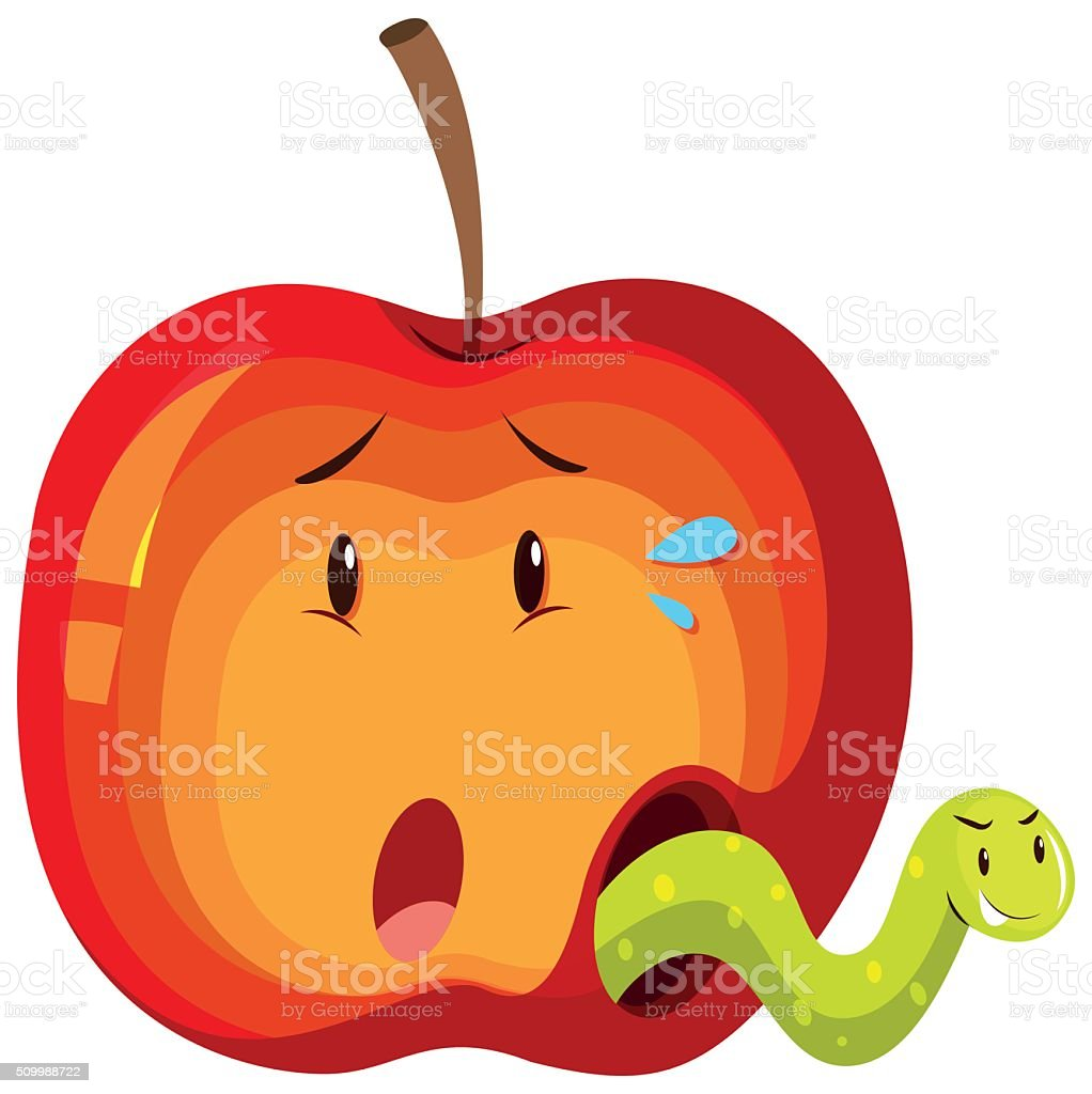 Apple with green worm inside vector art illustration