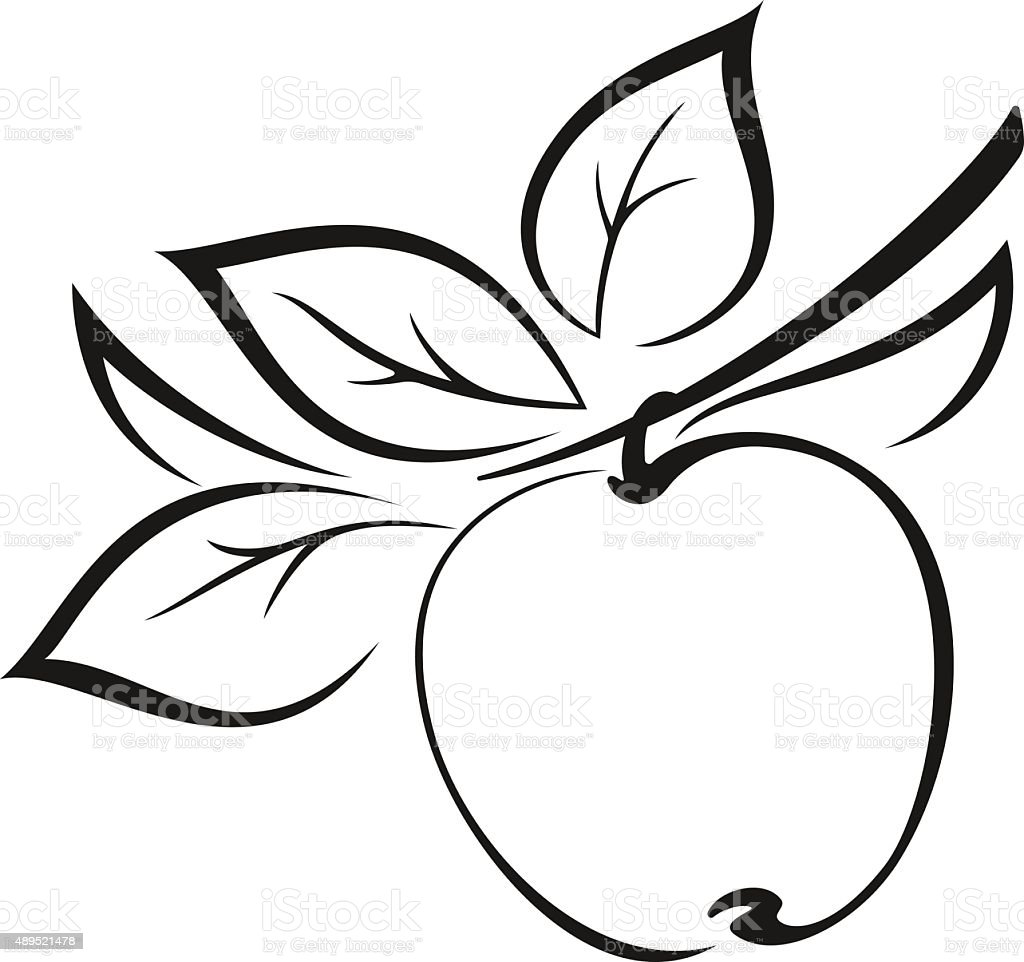 Apple with Leaves Black Pictogram vector art illustration