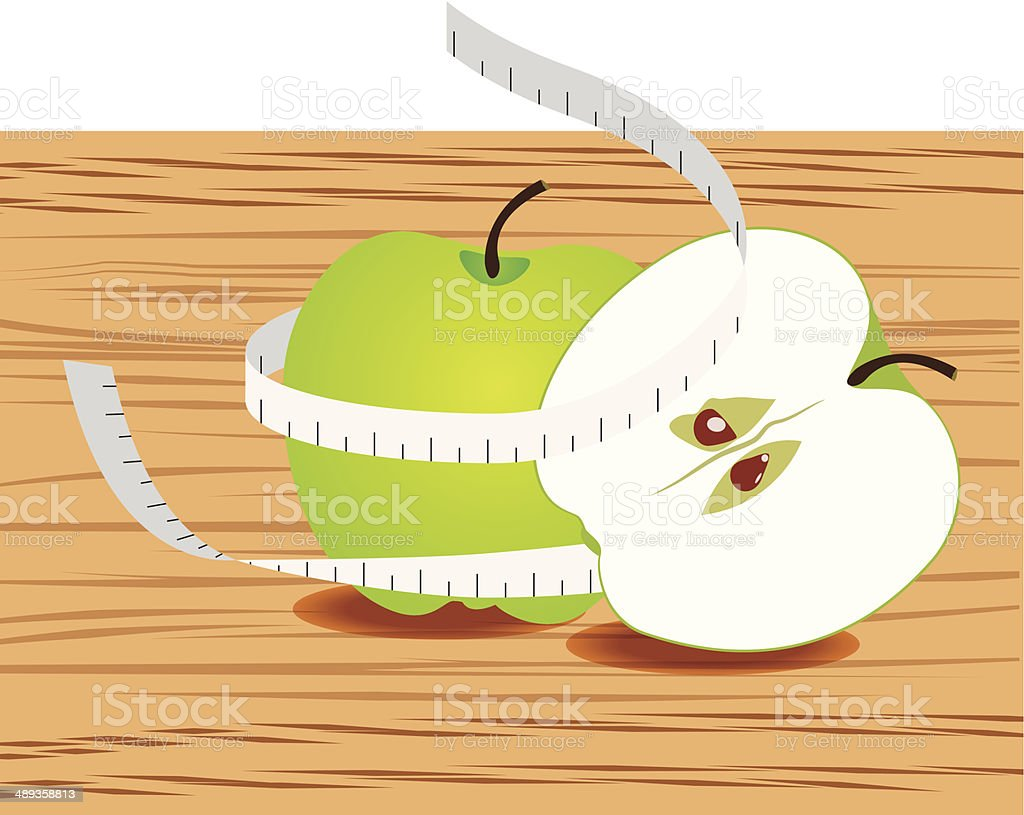 Apple with measure tape and table wood royalty-free stock vector art