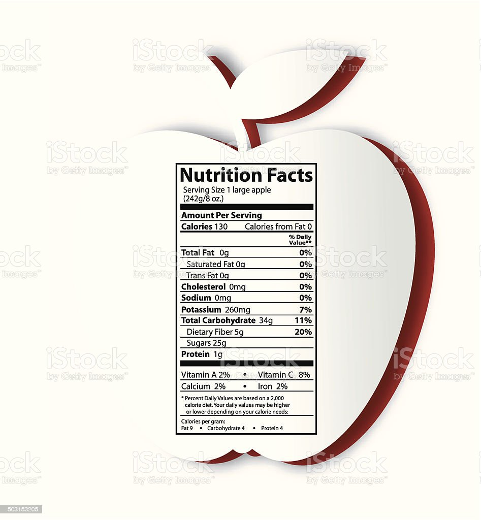 Apple with nutrition facts label vector art illustration