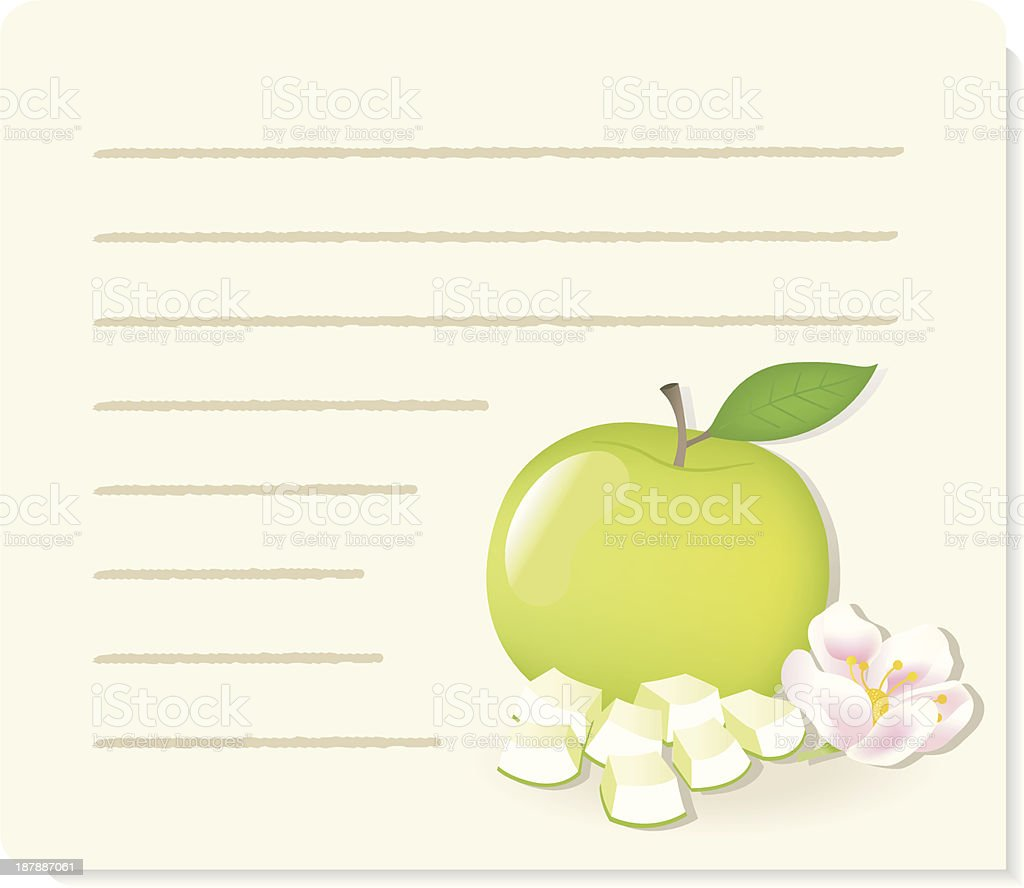 Apple with pieces and flower (recipe background). royalty-free stock vector art